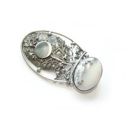 674 Vienetinis sidabrinis pakabukas - sagė su Peizažiniu Agatu Ag 925