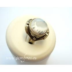 860 Žalvarinis žiedas su Peizažiniu Agatu