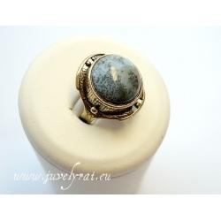 861 Žalvarinis žiedas su Peizažiniu Agatu