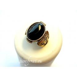 Žalvarinis žiedas su oniksu