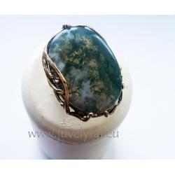 1152 Žalvarinis žiedas su Samaniniu Agatu