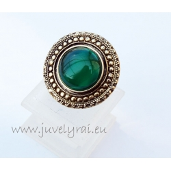 1303 Žalvarinis žiedas su Žaliuoju Agatu
