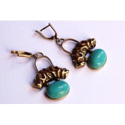 Žalvariniai auskarai su houlitu