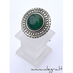 1529 Silver ring with Green Agate Ag 925