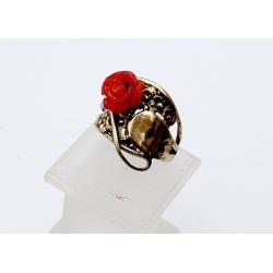 1541 Žalvarinis žiedas su Koralu