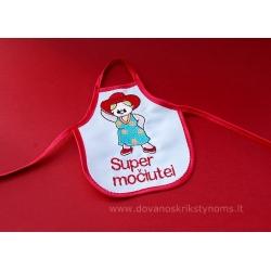 """1641 Prijuostės buteliams """"Super močiutei"""" (raudona)"""