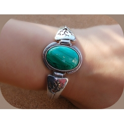 1428 Silver bracelet with Malachite Ag 925