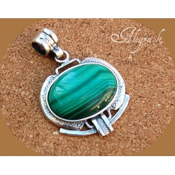 1754 Silver pendant with Malachite Ag 925