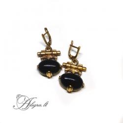 1862 Žalvariniai auskarai Oniksas