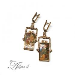 1880 Žalvariniai auskarai Rekonstruotas Jaspis