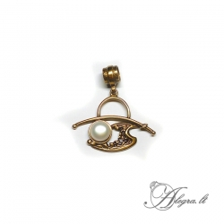 1900 Brass pendant with Freshwater Pearl