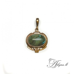 1906 Brass pendant with Labradorite