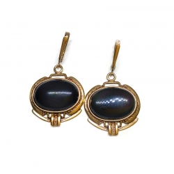 1917 Žalvariniai auskarai Vaivorykštinis Obsidianas