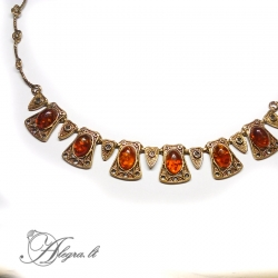 1923 Brass necklace with burned amber