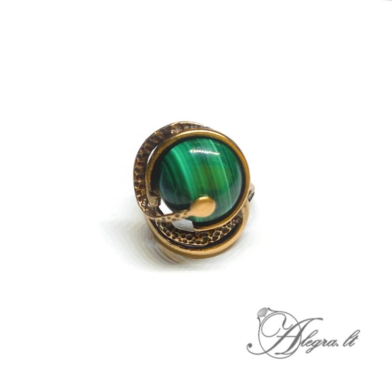 1935 Žalvarinis žiedas su Malachitu