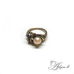 1938 Žalvarinis žiedas su Perlu