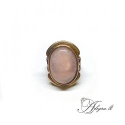 Žalvarinis žiedas Rožinis Kvarcas