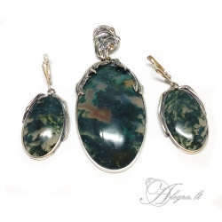 1987 Unique silver set with Moss Agate Ag 925