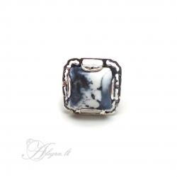 Sidabrinis žiedas su Peizažiniu Agatu Ag 925