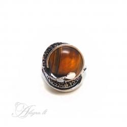 2024 Sidabrinis žiedas su Tigro akim Ag 925