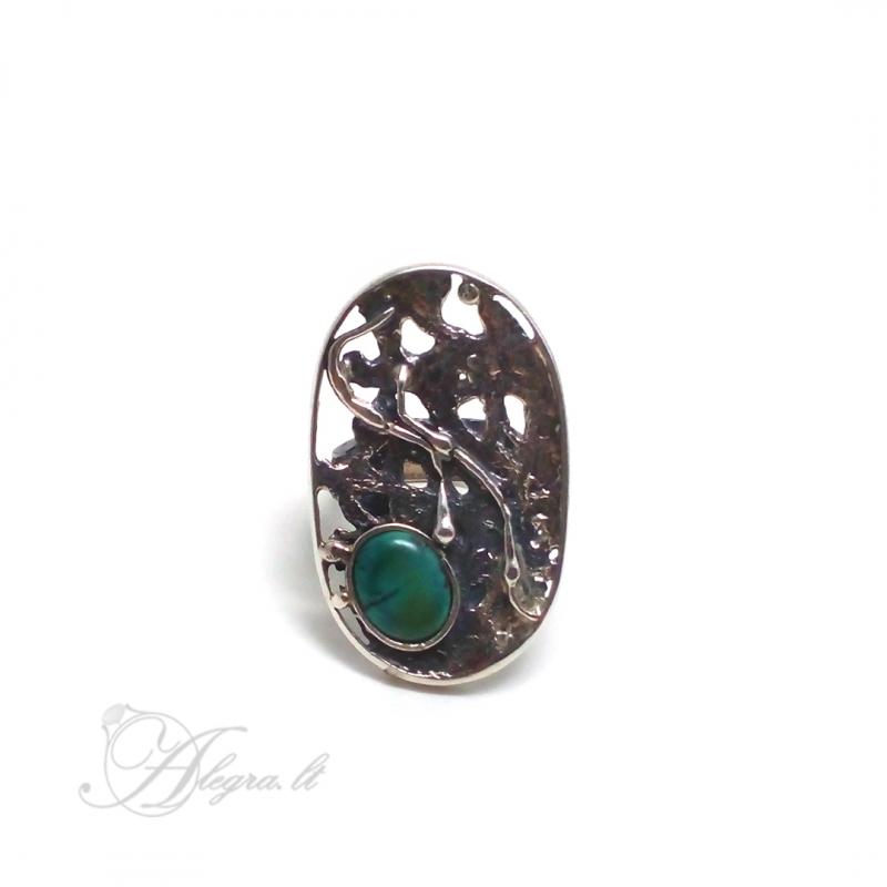2033 Vienetinis Sidabrinis žiedas su Turkiu Ag 925