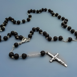 Silver rosary with Lava Stone [RO24]