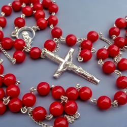 Silver rosary with Coral [RO25]