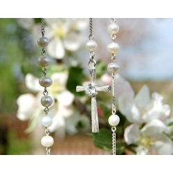 Silver rosary with Pearls and Zircon [R026]