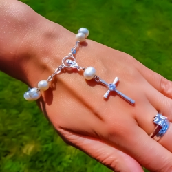 Vaikiškas,kelioninis rožančius su perlais