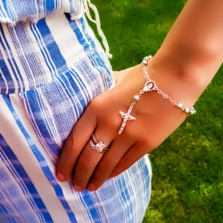 Small children rosary made of silver AG925