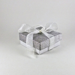 Silver giftbox with a ribbon