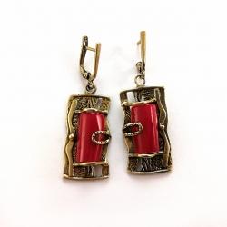 1182 Žalvariniai auskarai su Koralu