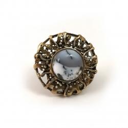 2398 Žalvarinis žiedas su Peizažiniu Agatu