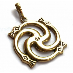 666 Brass pendant - swastika with the serpent's heads