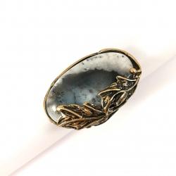 2644 Žalvarinis žiedas su Peizažiniu Agatu