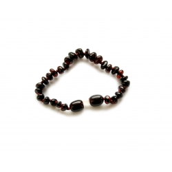 "Baltic amber teething bracelet ""Dark chocolate"""