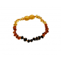"Baltic amber teething bracelet ""Honey rainbow"""