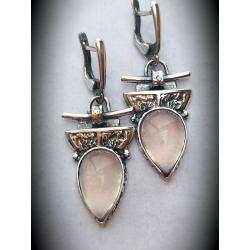 Sidabriniai auskarai su Rožiniu Kvarcu Ag 925