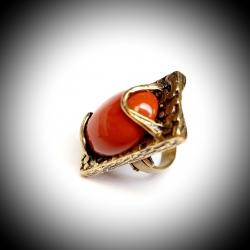 Žalvarinis žiedas su Raudonuoju Jaspiu
