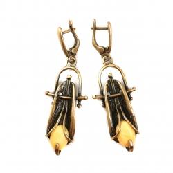 2855 Žalvariniai auskarai su Gintaru