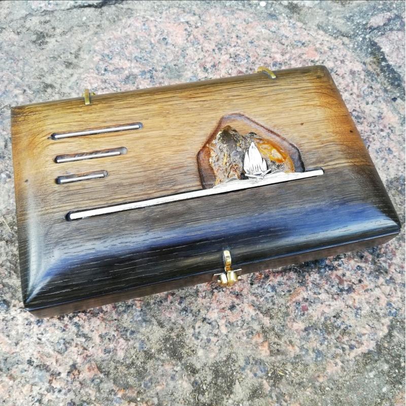 Pelkinio ąžuolo rankų darbo vienetinė dėžutė