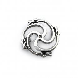 """3079 Silver brooch """"Žalčių Svastika"""" Ag 925"""