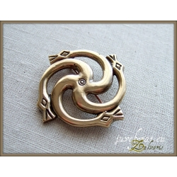 503 Brass brooch - swastika with the Serpent's Heads