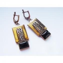 1171 Žalvariniai auskarai su Oniksu