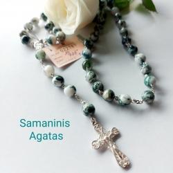 Sidabrinis Rožančius su Samaniniu Agatu 925 Ag