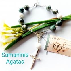 Sidabrinis Mažasis Rožančius su Samaniniu Agatu 925 Ag