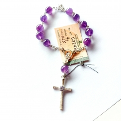Silver Rosary with Amethyst [R027] Bigger